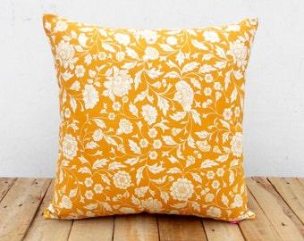 Yellow ochre throw pillow cover, Kalamkari print, Indian ethinic, cotton pillow, sizes available.