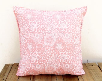 Coral throw pillow cover, lace print, cotton pillow, sizes available.
