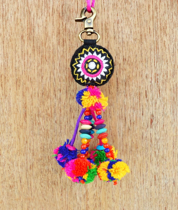 boho bag charm tribal Multicolor tassel bohemian handmade moroccan size 7 or 18 cms