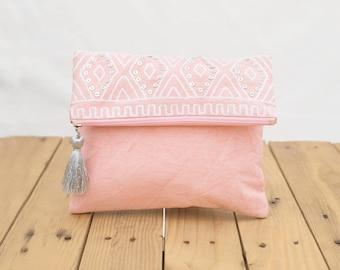 "Blush foldover clutch, stone washed clutch, bridesmaid purse, silver sequin bag , aztec, bohemian, size 8""X10"""
