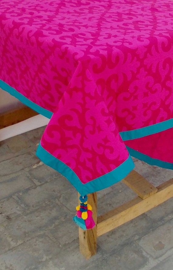 Bright Pink Table Cloth Moroccan Print Turquoise Border | Etsy