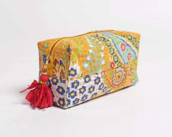 Yellow toiletry bag, kantha pouch, make up or cosmetic bag, utility pouch, 4X3X8 inches