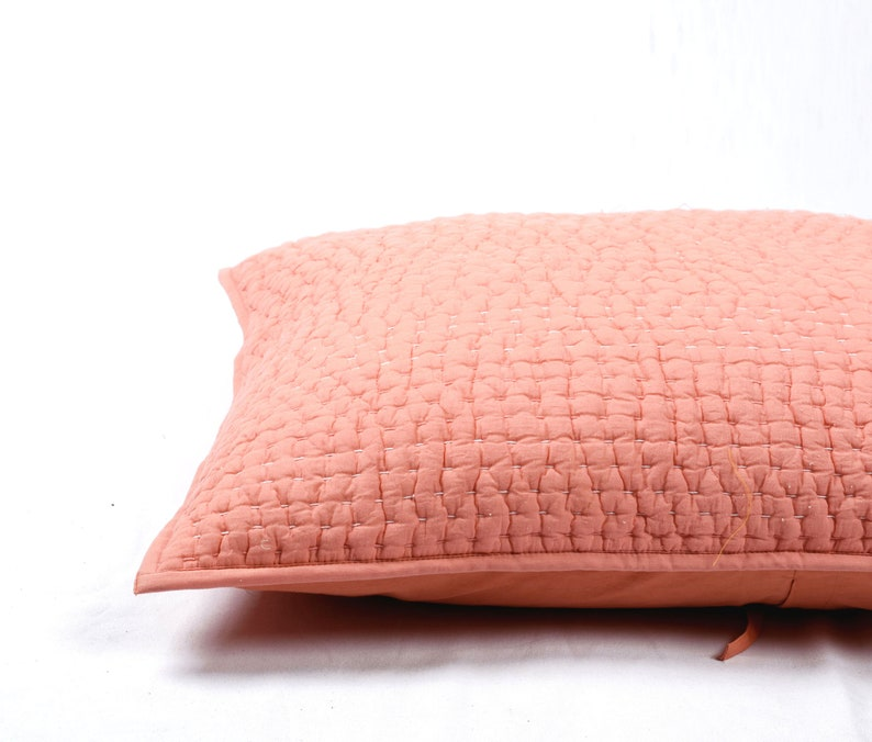 kantha Coral boho 20X26 inches quilted stripe pattern 100/% cotton pillow covers