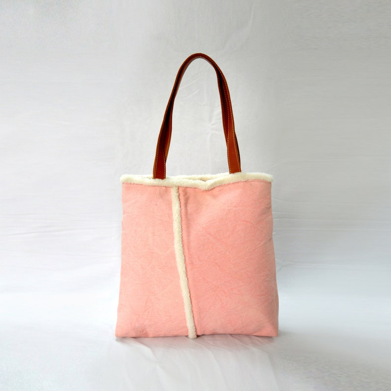 f0ae5daec81 SALE Pink canvas tote bag with pure leather handles and faux fur edging