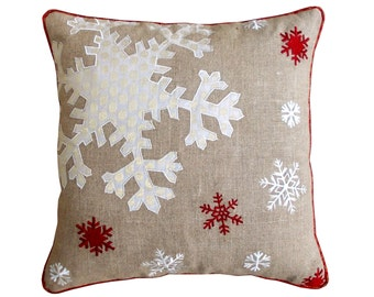 """Christmas linen pillow cover, snowflake, Indian brocade applique & embroidered pillow size 16""""X 16"""""""