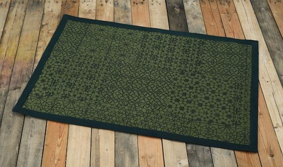 Cotton Rug Green Colour Geometric Print 100 Cotton Etsy