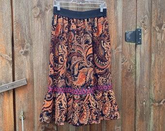Phish Paisley Skirt - Fishman Boho Skirt with Ruffle
