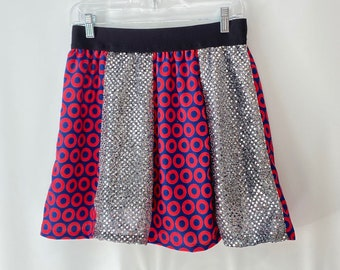 Phish Skirt - Fishman and Silver Glitterdot - Size Medium