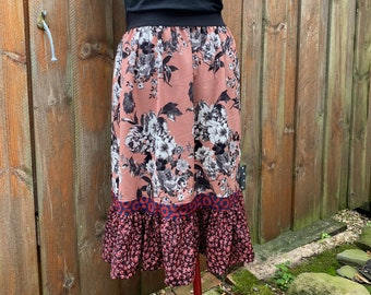 Phish Floral Skirt - Fishman Midi Skirt with Ruffle