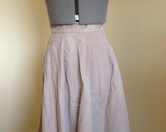 Brown Stripe 1960s Skater Skirt