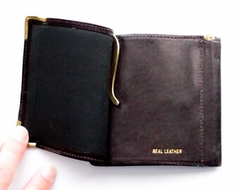 Leather Money Clip, Pocket Wallet w/ Money Clips, Real Leather Wallet, Black Leather Wallet, Gift For Men, Leather Wallets, Hipster Man Gift