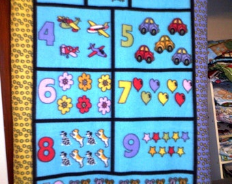 SALE Counting Numbers Toddler Fleece Throw