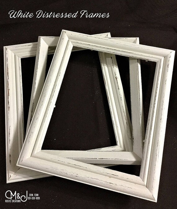 White Distressed Picture Frame 8x10 5x7 4x6 11x14 Re Etsy