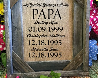 Framed Gift For Papa or Grandpa | Grandparent Gift | Burlap Print | Personalized Gift Grandpa |  #0228