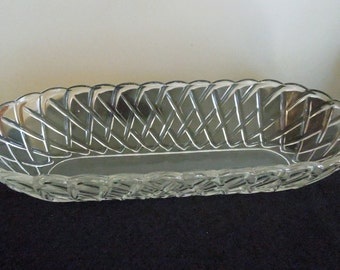Pressed Glass Relish Dish with Basket Weave Pattern