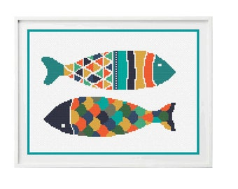 Fish Cross Stitch Pattern PDF ** instant Download ** - Folk Art Cross Stitch Fish