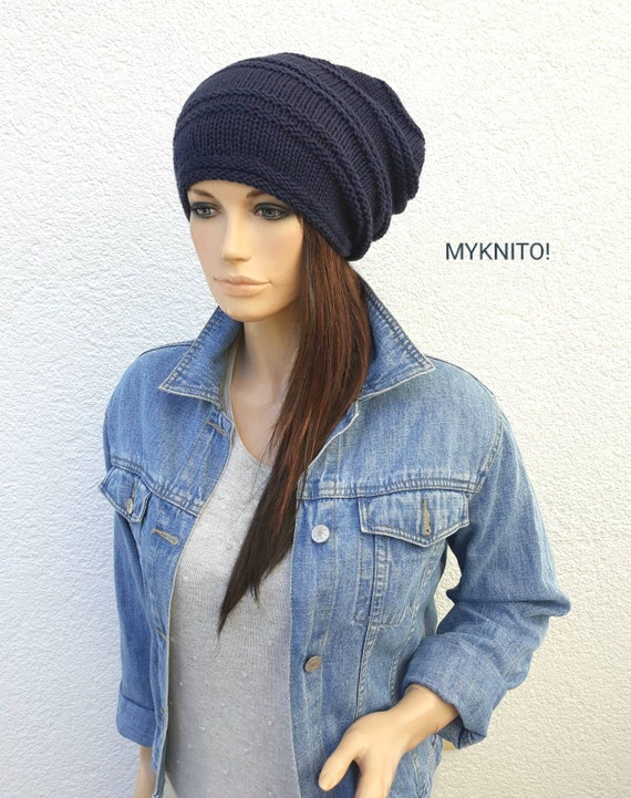 woolen cap knitted hat slouch hat knitted cap hat Slouch CAP anthrazite