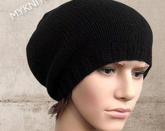 men, beanie, wool, black, slouch, beanie, knitted knit hat, wool hat, winter hat, gifts for him