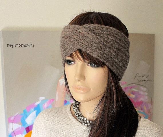 TURBAN Stirnband Haarband Merino nussbraun gestrickt | Etsy