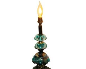 Reclaimed Carnival Glass Candleholder Table Lamp