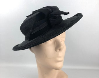 Original 1940s Black Straw Hat - Deadstock with Tag 28088d748961