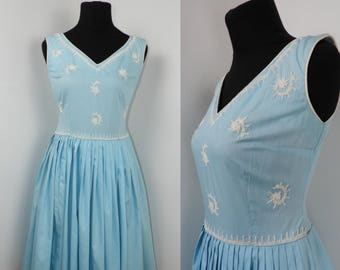 1950s 1960s Carnegie Blue and White Cotton Dress with Soutache - UK 8