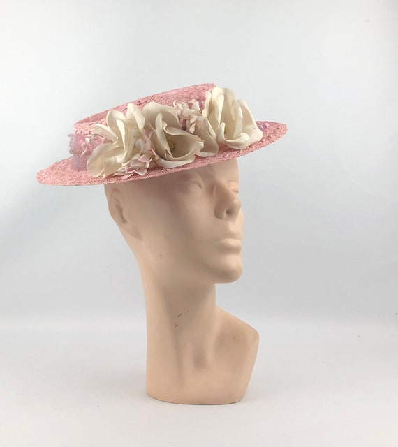 Original 1940s Pink Straw Hat with Floral Trim and