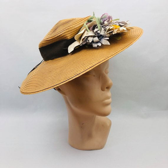 Original 1940s Wide Brimmed Straw Hat with Floral