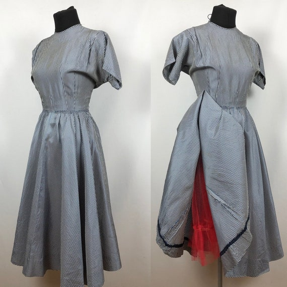 1950s Black, Blue and White Gingham Dress with Red