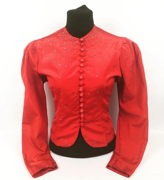 """Original 1940s Red Paste Studded Jacket - Bust 38"""""""
