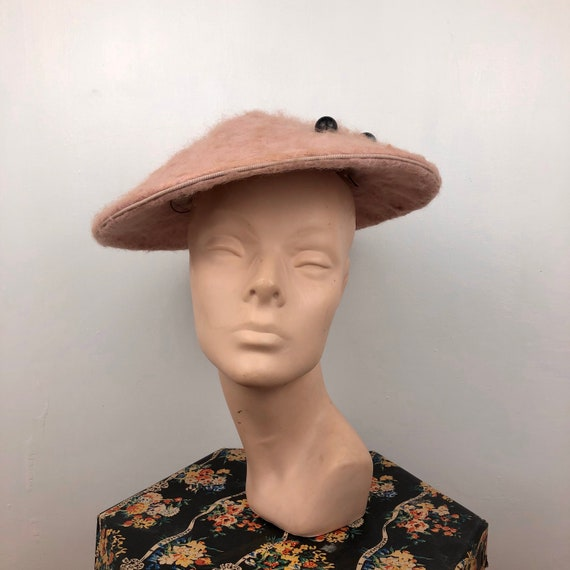 Original 1950s Fluffy Pink Conical Hat - Gippy Hat