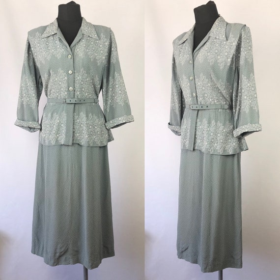 Original 1940s Volup Grey and White Crepe Dress -