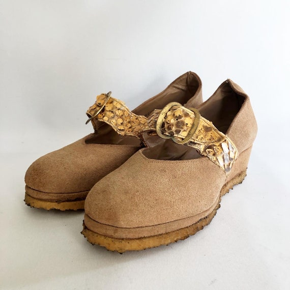 1940's Suede and Snakeskin Wedge Shoes - Vintage -