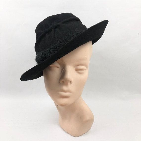 Original 1940s Black Felt Fedora Hat