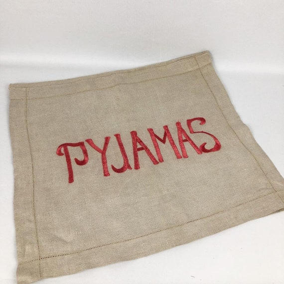 1930s 1940s Linen Pyjama Case with Bold Silk Embro