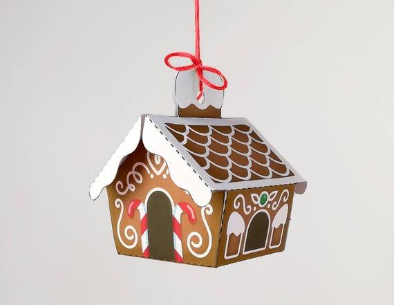 Printable Ornament Gingerbread House Christmas Decor Direct Etsy