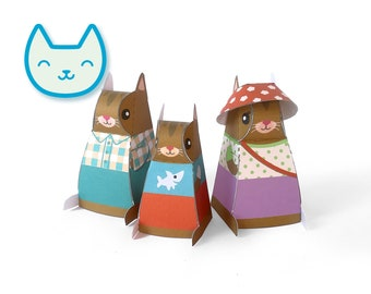 DIY papercraft kit, Cat family playset, Pdf paper toy, printable pretend play, Instant Download, paper kitties, animal toys