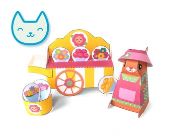 DIY papercraft kit, Flower cart playset, Pdf paper toy, printable pretend play, Instant Download, paper cat, paper flowers