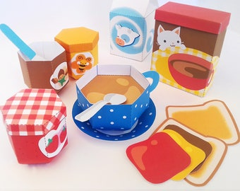 DIY papercraft kit Food playset Pdf Paper toy Breakfast Pretend play printable Pdf play food Instant Download Hot chocolate Milk box