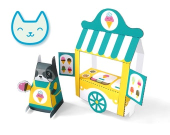 DIY papercraft kit, Ice cream stand playset, Pdf paper toy, printable pretend play, Instant Download, paper racoon, ice cream toy