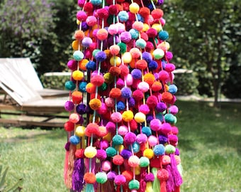 Handmade Bright Colored Pom Garland Mexican Decor Ethnic Boho Tribal Home Pompom Tassel
