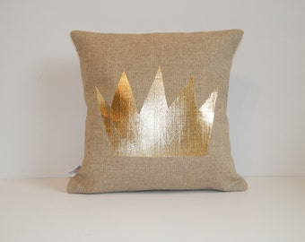 Gold Metallic Crown Pillow - Where the Wild Things Are - 14x14- Linen-blend -Burlap-look - Gold foil