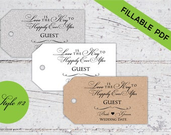 Love Is The Key To Happily Ever After | Style 2 | Fillable PDF | DIY Wedding Guest Seating Tags | Favor Tags | Digital Download | Printable