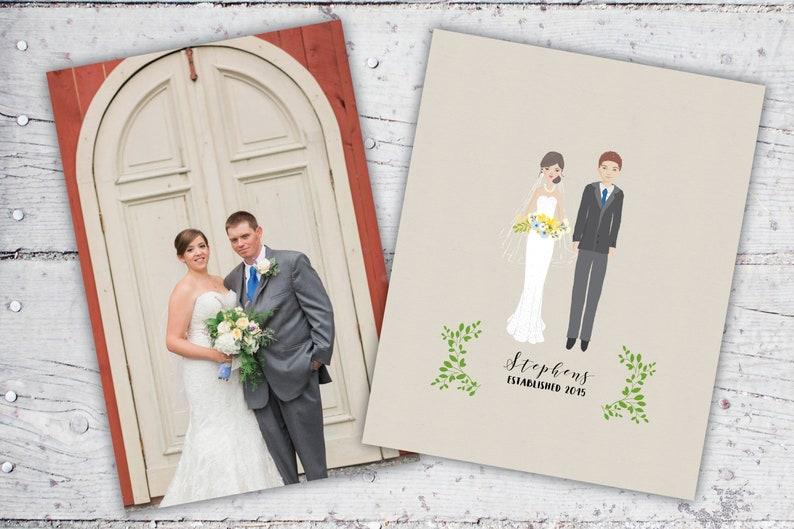 Personalized Illustrated Bride & Groom Art  Framed Art image 0