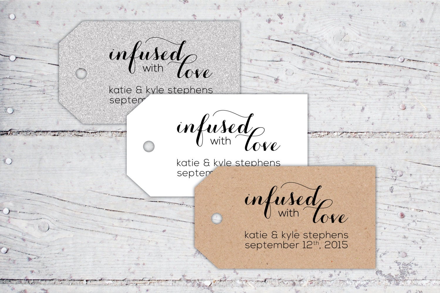 Infused With Love Olive Oil Wedding Favor Tags   3 x 1.7   Print-It ...