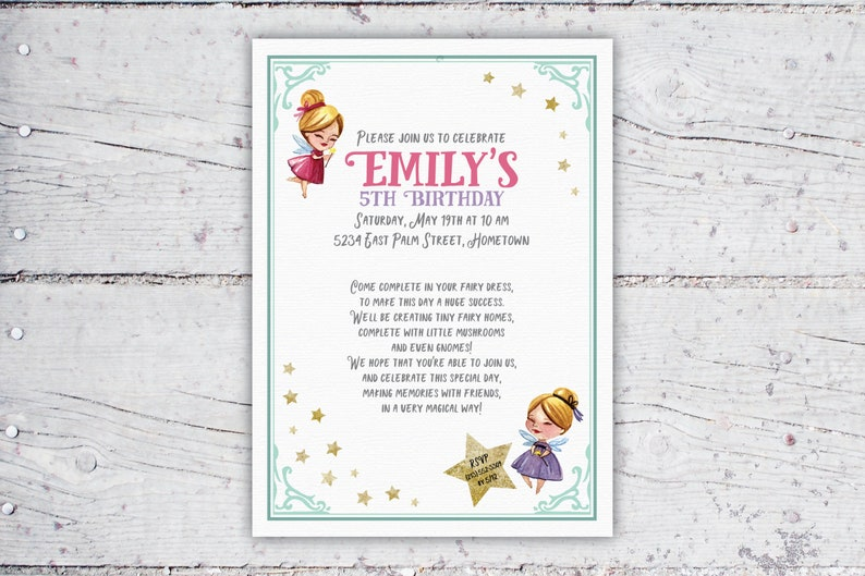 Magical Fairy Birthday Party Invitation  Fairy Garden Party  image 0