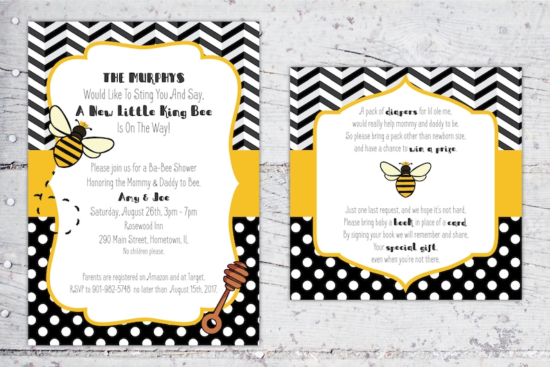 Ba Bee Baby Shower Package King Bee Invitation Diaper Etsy