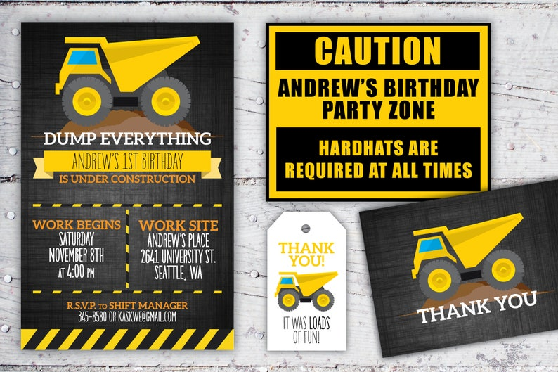 Construction Birthday Printable Set Digital Download  Dump image 0