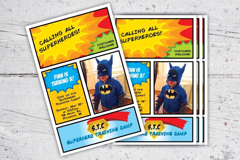 Superhero Training Camp Photo Birthday Invitation  5x7  image 0