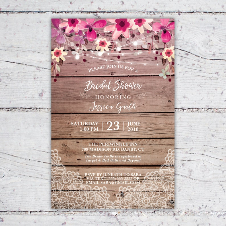 8c7476e5335 Rustic Picnic Flowers And Lace Themed Bridal Shower Invitation